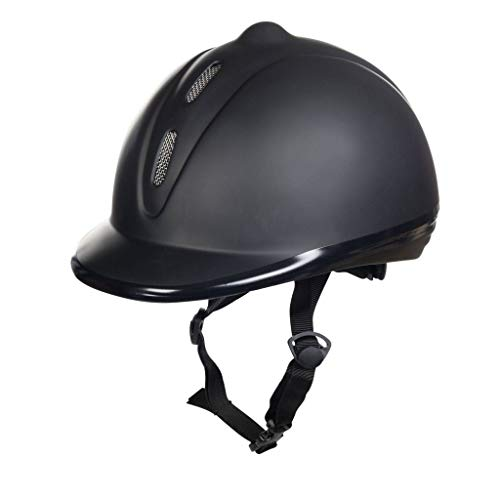 HKM Erwachsene Reithelm, Kunststoff glatt9100 schwarzM=53-57cm Hose, 9100 schwarz, M