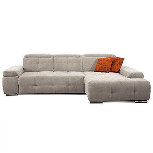 CAVADORE Ecksofa Mistrel mit Longchair XL rechts / Große Eck-Couch im modernen Design / Inkl. verstellbaren Kopfteilen / Wellenunterfederung / 273 x 77 x 173 / Kati Grau-Weiss