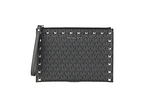 """Imported MK Name Plate on Front Signature PVC with Leather Trim Zipper Closure 6"""" Wrist Strap Measures 9.5"""" L x 6.75"""" H"""
