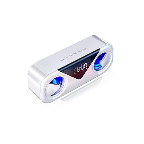 Altavoces Bluetooth 5.0 - Altavoces Inalámbricos Portátiles, Pantalla De Temperatura con Pantalla LED, 20H Playime, para El Hogar, Al Aire Libre, Viajar,Blanco