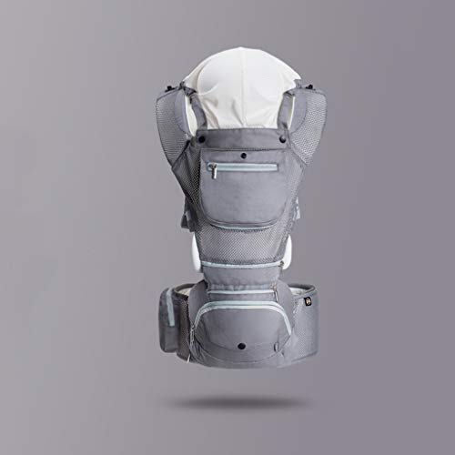 Bulawlly Porte-bébé Sac à Dos Porte-bébé Ergonomique Hanche Siège Boîte de Rangement pour Nouveau-né et l'allaitement Avant Retour Mains Libres 0-48 Mois jusqu'à 25 kg,Gris
