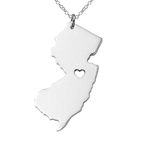 M&T 2015 Silver Tone Stainless Steel Map Pendant Necklace, We Love N. Jersey, NJ