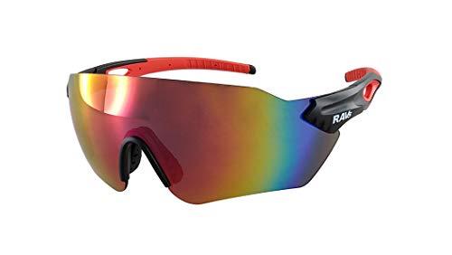 Ravs Gafas de ciclismo para triatlón, gafas de ciclismo, gafas de carretera, polarizadas, cristal transparente (oversize-Shield multicapa roja)