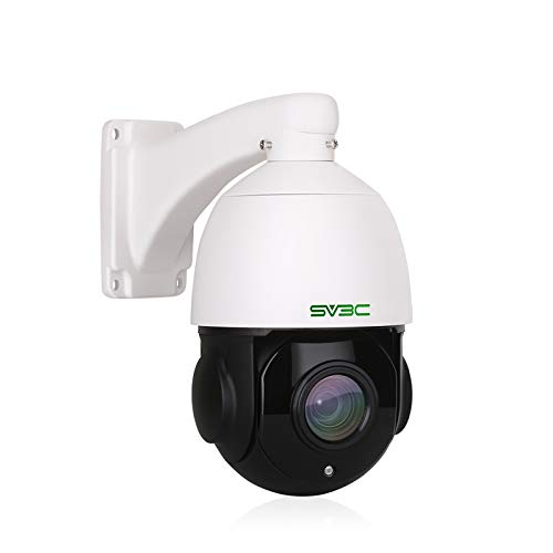SV3C Outdoor 5MP PTZ POE Camera with 20X Optical Zoom Auto Focus Lens, 360° Pan Tilt Home Security Cam, HD200FT IR Auto Night Vision Waterproof Motion Detect Remote RTSP Access, 128GB SD Card Slot
