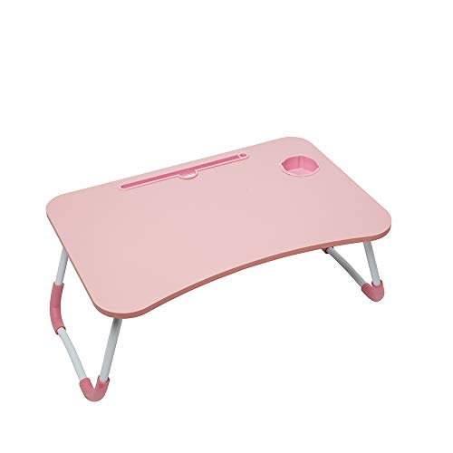 Foldable Laptop Lap Desk, Portable Computer Bed Table Tray with Phone Stand and Cup Holder for Sofa Couch Breakfast Dining (Pink)