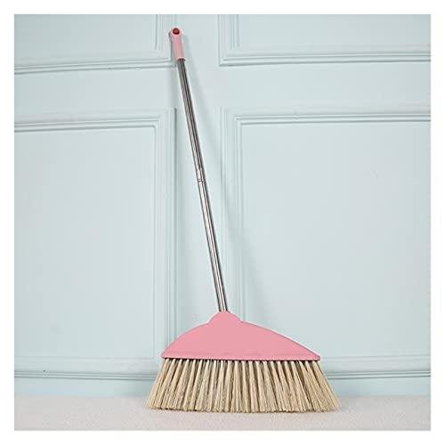 HuaShslt Escoba for el hogar Sweeper Sweeper Acero Inoxidable Cocina Cocina Colector de Basura Pelo Mop Limpieza Piso Limpiador Cepillo Escoba Suelo Cepillo Suave Broom Broom Manija (Color : Pink)