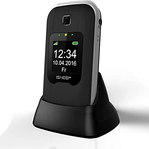 ISHEEP SG22+ 2G Telefono Cellulare per anziani con doppio LCD display, base di ricarica, Torcia, Tasti Grandi, Funzione SOS, Volume Alto. Nero