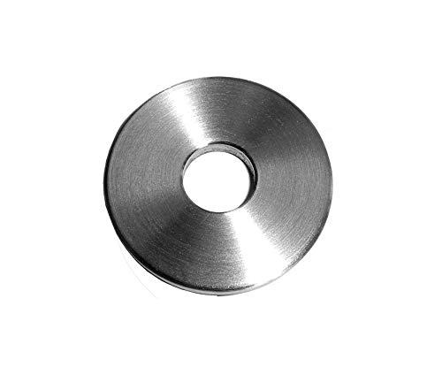 Ronde mit leicht gefaster Kanten und Mittelbohrung V2A einseitig geschliffen (Mittelbohrung Ø 10,5 mm, Ø 50 mm - Dicke 4 mm)