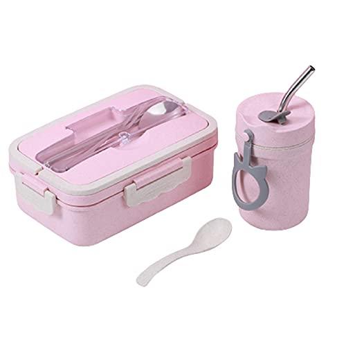 5665 Cajas Bento para Niños y Adultos, Recipiente para Almuerzo a Prueba de Fugas, Fiambrera Bento para Escuela de Trabajo para Adultos, Apto para,Pink-Addsoupcup