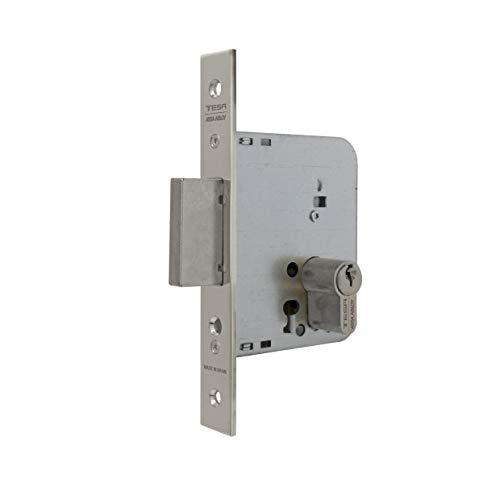 Tesa Assa Abloy 203160HN Cerradura De Embutir Para Puertas De Madera Con Cilindro Niquelado Entrada 60 mm, Frente Cuadrado 2031