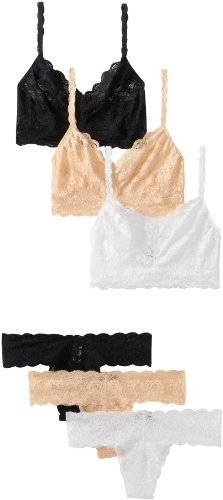 Cosabella Women's Never Say Never 3-Pack Sweetie Soft Bra & Cutie Thong Sets, Black/Blush/White, Bra: Medium/Thong: One Size