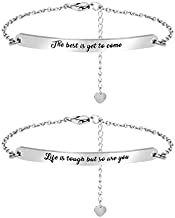 BFJLIFE Inspirational Link Bracelet Motivational Mantra Stainless Steel Engraved Quote Jewelry Gift for Women Men Girls