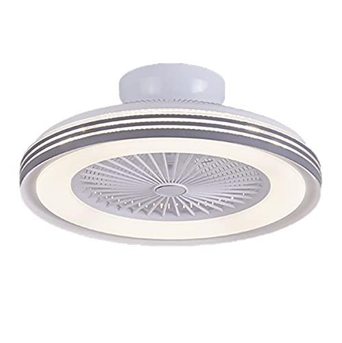 Ventilador De Techo Con Luz Moderna Silencioso Lámpara De Techo Con Luz Y Mando A Distancia Velocidad Del Viento Ajustable Regulable 3 Colores Plafón De Techo Lluminación Luz Del Ventilador,Blanco