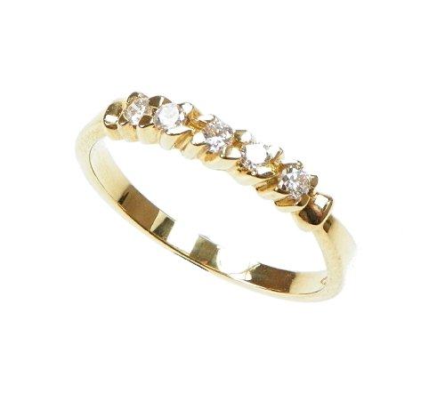 Orphelia Jewelry - Anillo de oro amarillo de 18 quilates con diamante (.2), talla 15 (17,52 mm)