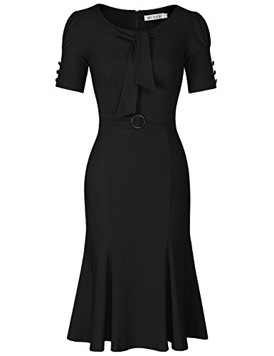 MUXXN Women's Vintage Scoop Neck Knee Length Party Pencil Dress (Black S)