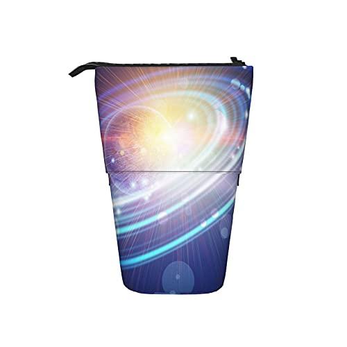 Astuccio telescopico Astuccio per cancelleria,Pianeta astratto blu con anelli concentrici i,Supporto per matite Stand Up Astuccio per cosmetici con cerniera per l ufficio del college scolastico