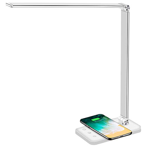 Multifunctional LED Desk Lamp with Wireless Charger, USB Charging Port, 5 Lighting Modes,5 Brightness Levels, Sensitive Control, 30/60 min Auto Timer, Eye-Caring Office Lamp with Adapter