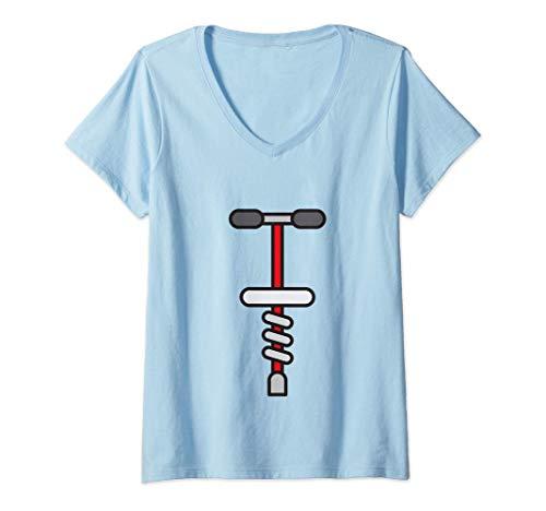 Mujer Juguete de salto con palo de pogo Camiseta Cuello V