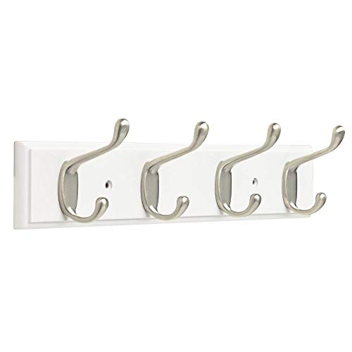 Franklin Brass Heavy Duty Coat and Hat Hook Rail Wall Hooks 4 Hooks, 16 Inches, White & Satin Nickel Finish, FBHDCH4-WSE-R