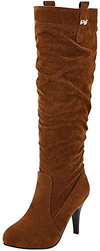 Bigtree Damen Stiefel Overknee High Heels Winter Herbst Nubukleder Stiletto Komfortabel Lange Stiefel Übergrößen Flandell Braun