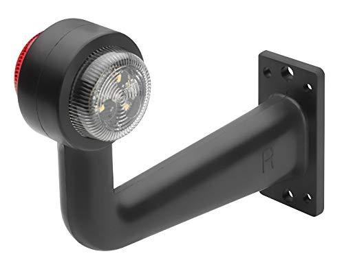 AdLuminis LED Positionsleuchte Rot Weiß | E-Prüfzeichen + IP67 Schutzklasse | 12V 24V Begrenzungsleuchte + Schlusslicht | Ideal Für Anhänger, Wohnwagen, Boot, Transporter, LKW etc. (Seitlich Rechts)
