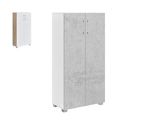 MyosHome - Mueble Zapatero Armario De 60 x 32 x 124 cm Sileno (Cemento Blanco)