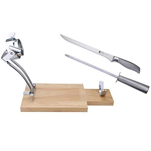 Masterpro Q1938 - Set Jamonero, 3 piezas (jamonero, cuchillo y chaira), madera