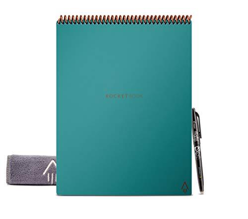 Rocketbook Flip Libreta A4 – Cuaderno A4 Tamaño Carta Turquesa – Cuaderno Inteligente de Escritura Infinitamente Reutilizable - Cuadricula de Puntos - Incluye Lápiz Pilot FriXion y Borrador