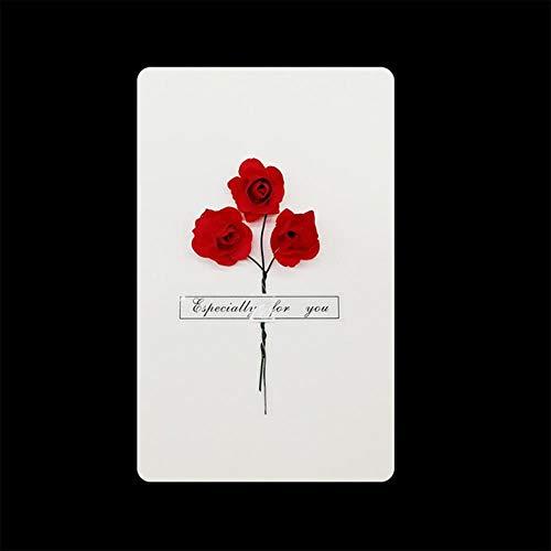 ERFHJ 1 stuk geschenkdoos decoratie gedroogde bloem kaart uitnodiging ansichtkaart uitnodiging ansichtkaart bruiloft feest vakantie groet, z