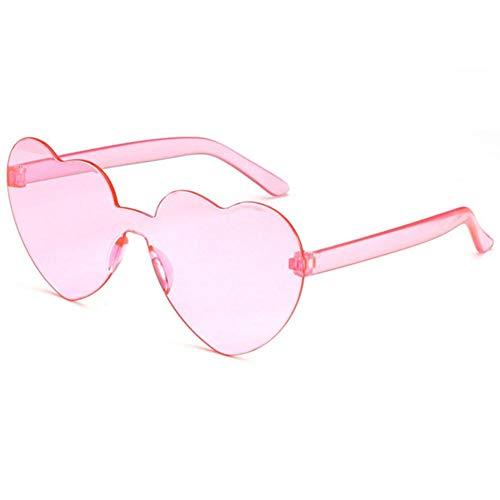 ZYIZEE Gafas de conducción con Lente de corazón de Amor Gafas de una Pieza de plástico Transparente para Mujer Gafas de Sol de Estilo para Mujer Color Caramelo Transparente para Mujer