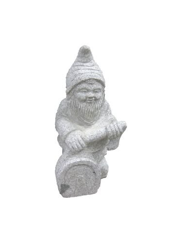 Steinfigur Gartenzwerg, handgearbeitete Naturstein Dekofigur aus Granit, verschiedene Motive (Feuerwehrmann)