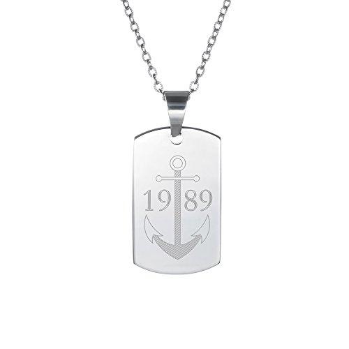 Gravado Halskette mit Erkennungsmarke aus Edelstahl mit Anker Motiv, Personalisiert mit Jahreszahl oder Initialen, Herren Schmuck