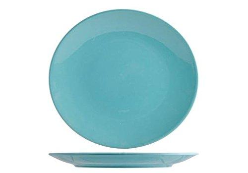 H&H Iris Lot de 6 Assiettes Creuses, Terre Cuite, Bleu, 26 x 26 x 3 cm