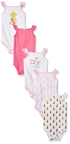 Hudson Baby Unisex Baby Cotton Sleeveless Bodysuits, Pineapple, 3-6 Months