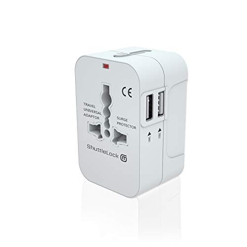 ShuttleLock トラベル アダプター ユニバーサル インターナショナル トラベル チャージャー プラグ デュアル USB 充電 ポート ワールドワイド プラグ アダプタ付 オール イン ワンウォール AC 電源 プラグ 150カ国用 ホワイト 2.0*1.5*3インチ