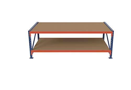 Packtisch LR Grundtisch Werkbank Arbeitstisch höhenverstellbar mit Holzboden verschiedene Größen und Ebenen (230x75-115x80cm, 2 Ebenen)