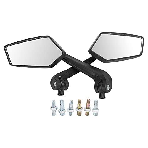 Espejo retrovisor para motocicleta, par negro HD giratorio para scooter ATV de rosca 8 mm 10 mm