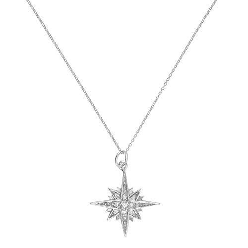 Córdoba Jewels | Gargantilla en Plata de Ley 925 con zirconitas con diseño Estrella Polar Zirconium Silver