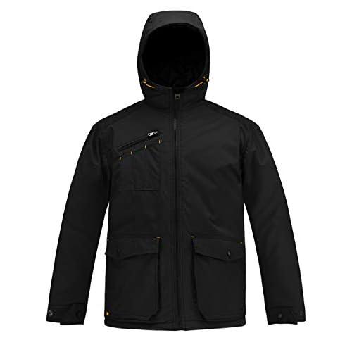 HARD LAND Men's Winter Jacket Waterproof Outdoor Windproof Hooded Insulated Coat Parka Work Wear