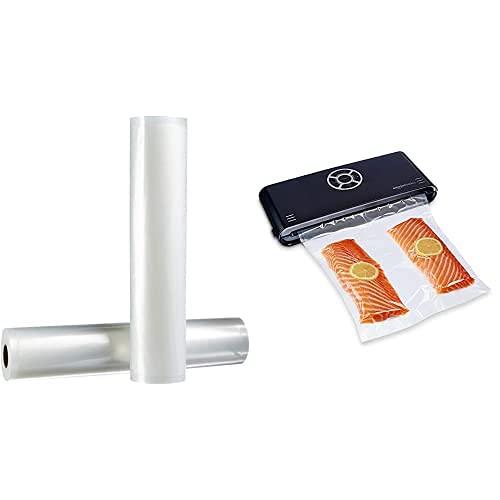 AmazonBasics - 2 rollos para sellar al vacío, 30 cm x 600 cm + Sellador al vacío, 30 cm sellado + 10 bolsas para envasadora al vacío, negro