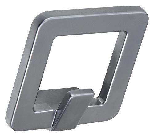 Gedotec Design garderobehaken, hoekig, kleerhaken, chroom, zilver mat - kroon's, mantelhaken van massief metaal, onzichtbaar vastgeschroefd, 1 stuk, moderne wandkapstok, afzonderlijk met schroeven modern 1 Stück chroom mat zilver