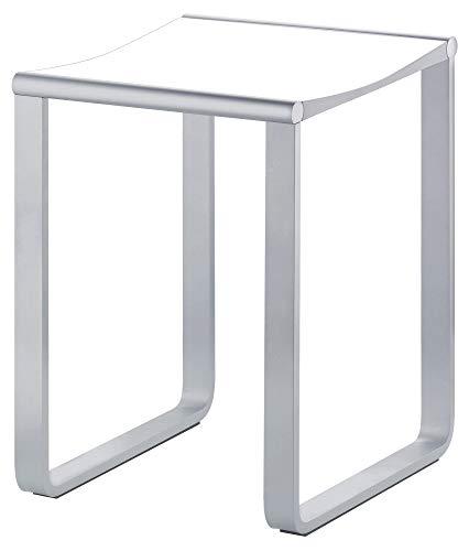KEUCO Bad-Hocker in chrom und weiß, Anti-Rutsch Füße für die Dusche, bis 100 kg, 46,9 cm hoch, Design-Badhocker, Dusch-Sitz, Plan