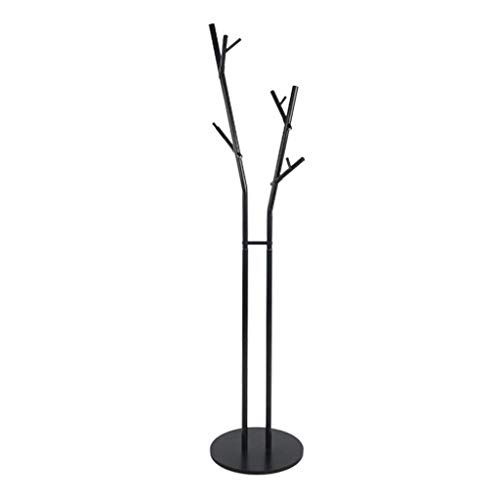 Vrijstaande metalen kapstok hanger, moderne multifunctionele hal boom verplaatsbare plank industriële meubels met 8 haken, voor entryway slaapkamer kantoor, zwart wit