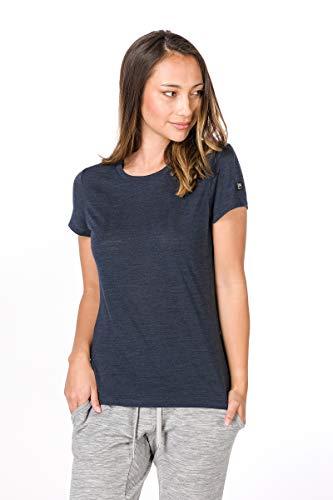super.natural Bedrucktes Damen Kurzarm Shirt, Mit Merinowolle, W ESSENTIAL I.D TEE, Größe: XS, Farbe: Dunkelblau