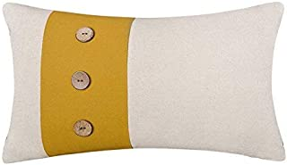 JWH Linen Applique Accent Pillow Case Decorative Coconut Buttons Cushion Cover Cotton Shells Home Sofa Car Bed Living Room Chair Decor Pillowcase Gift 12 x 20 Inch Yellow