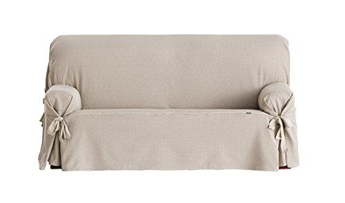 Eysa Constanza - Funda de sofa de lazos, color lino, 180 a 230 cm, 3 plazas