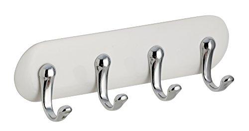 InterDesign AFFIXX porte-clé mural, accroche-clé en plastique à fixer sans percer, organisateur clés de taille moyenne avec 4 crochets, blanc/Argent