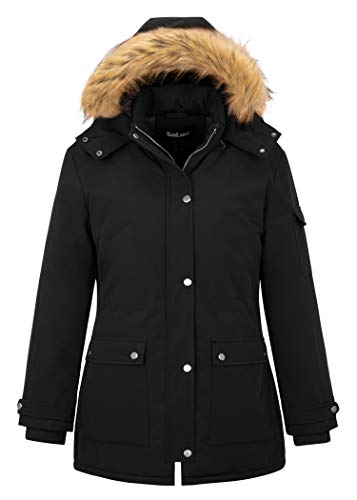 Soularge Women's Plus Size Winter Winderbreaker Warm Quilted Military Jacket (Black, 3X)