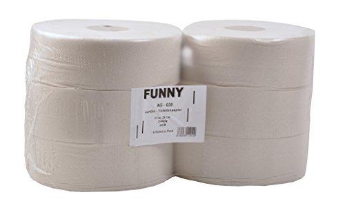 Funny Jumbo - Toilettenpapier 2 lagig Recycling weiß, Durchmesser circa 28 cm, 1er Pack (1 x 6 Stück)
