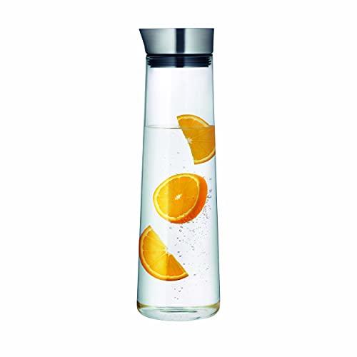 blomus -ACQUA- Wasserkaraffe aus Glas, 1,5 Liter Fassungsvermögen, Glaskaraffe mit hochwertigem Edelstahl-Deckel, tropffreies Ausgießen, exklusive Optik (H / B / T: 33 x 10 x 10 cm, Klar, 63448)